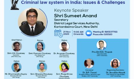 National Webinar on Criminal Law System in India (Issues & Challenges)