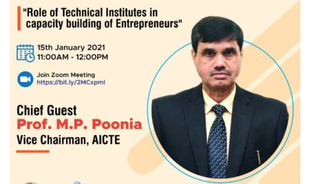 National Webinar on Role of Technical Institute in capacity building of Entrepreneurs
